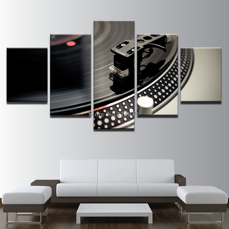 5 Pieces DJ Music Instrument Turntables Printed Canvas Painting Living Room Wall Art Pictures No Framed