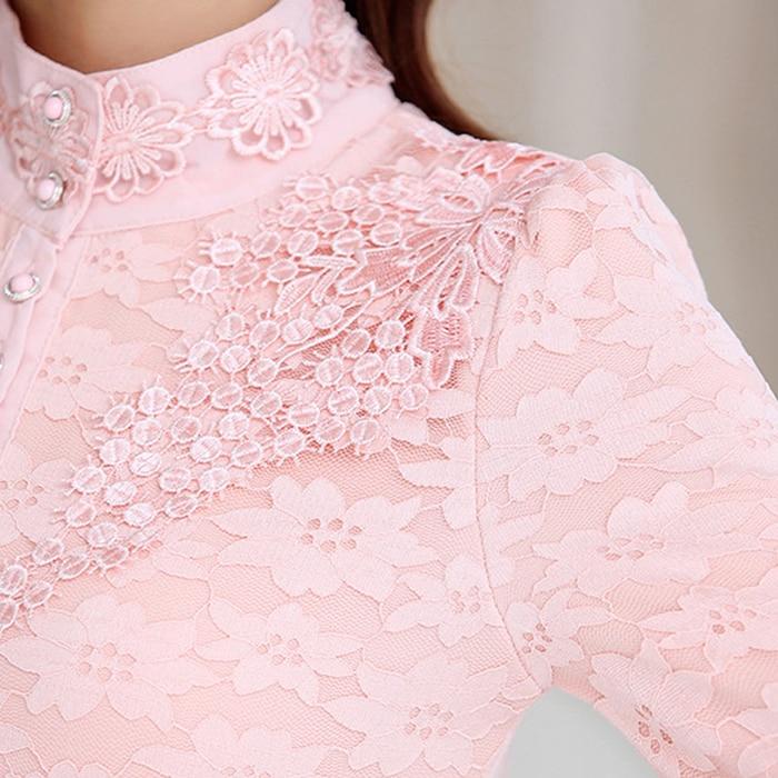 2019 Moda La white Las Oficina Nueva Manga Renda Inside Velvet pink Elegante Inside Inside Larga Encaje white black black Tops Blusa Mujeres De Primavera Mujer Camisa Pink Nobles qCSOOdt6