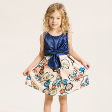 Baby Girls Fashion Cute Party Dress Summer Kids Clothes Bow Printing Little Girls Princess Dress Brand Children Clothing 2-15Y