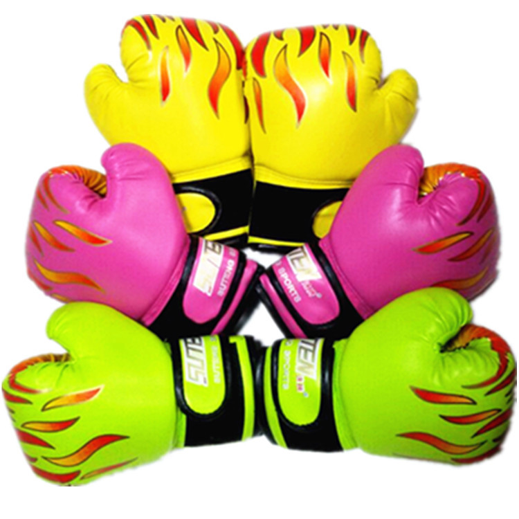 Suteng яркий Цвета От 2 до 10 лет дети Боксёрские перчатки Муай Тай ММА карате борьба сумка удар учебные рукавицы пламя печатных 2018 CO