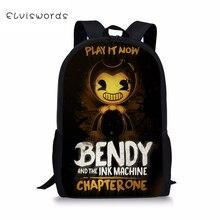 ELVISWORDS Fashion Kids Backpack Bendy and the Ink Machine Pattern Childrens Book Bag Toddler School Bags Women Travel