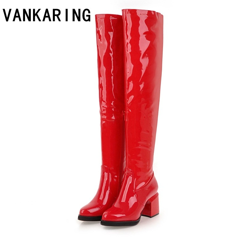 VANKARING Halloween costumes black red ladies retro boots for women knee high boots fancy dress party shoes winter boots women batman suicide squad harley quinn movie cosplay costumes shoes boots high heels custom made for adult women halloween party
