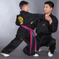 2019 Embroidered Dragon Black Polyester Cotton Taekwondo Clothing Adult Kids Long sleeve Taekwondo Uniform Karate Uniform Qulity