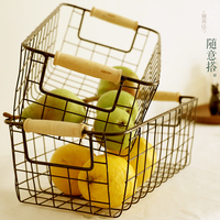 Japanese thick wire basket zakka iron basket Solid wood handle sundry towel box picnic basket home orgainzer