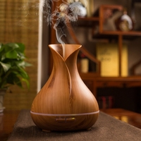 New 400ml Aroma Essential Oil Diffuser Ultrasonic Air Humidifier With Wood Grain 7Color Changing LED Lights