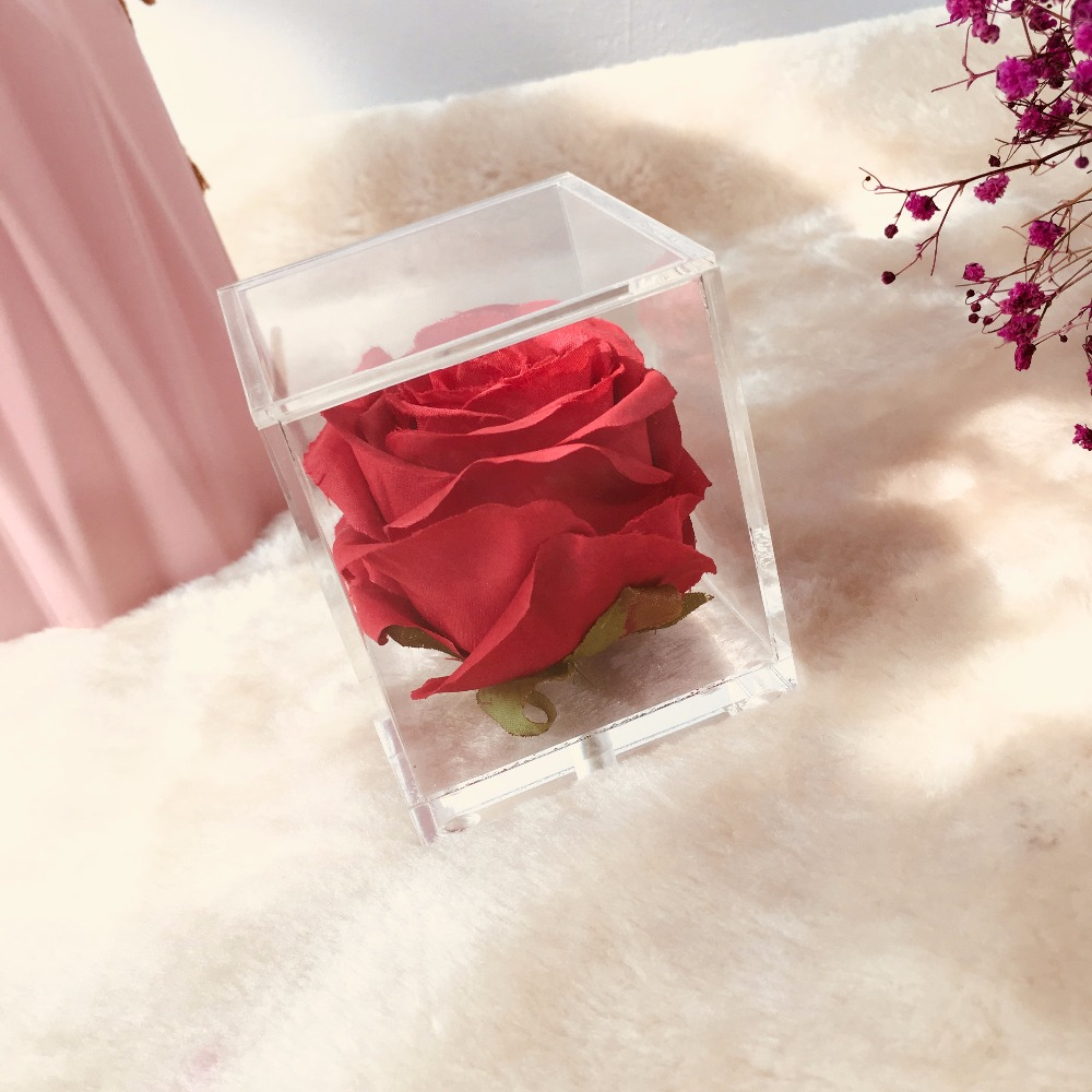 2018 boîte à fleurs Rose acrylique petit coffret cadeau saint valentin cadeau de noël cadeau fête des mères cadeaux de mariage sans fleurs