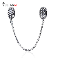 925 Sterling Silver Dot Safety Chain In Screw Hole Fit European Women Bracelet Necklace Jewelry Making