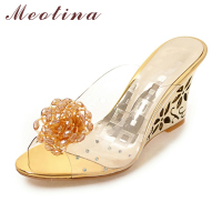 Meotina Women Shoes Slides Summer Sandals Flower Transparent Slippers High Heels Sandals Beading Mules Shoes Gold