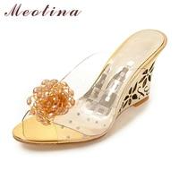 Meotina Women Shoes Slides Summer Sandals Flower Transparent Slippers High Heels Sandals Beading Mules Shoes Gold