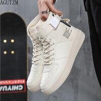 AGUTZM Men's Vulcanize Shoes Lace up Men Casual Shoes Fashion High Top Men High Pipe Men's Flat Shoes Q100