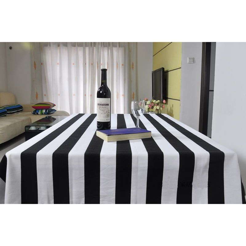 Nice 70*70cm Black And White Stripes Tablecloth 100% Cotton Pastoral Style  Best Selling Table Covers Table Cloths SMHB0057 Part 9