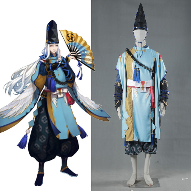 Onmyoji Game Abeno Seimei Cosplay Kimono White Blue Costume Full Set  Halloween Party Clothing For Men