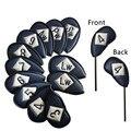 Golf Club Coperture Testa Coperture Set di Cuoio DELL'UNITÀ di elaborazione 12 pz/pacco fit Mano Sinistra La Mano Destra I Golfisti Del Ricamo Logo Entrambi I Lati deluxe