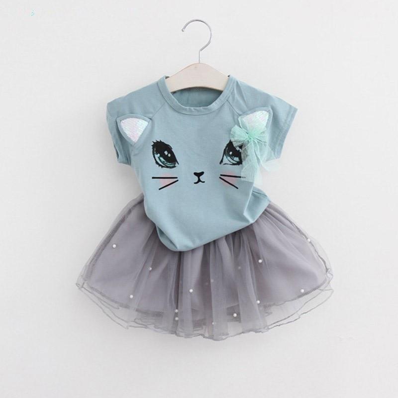 2Pcs Girls Sweet Summer Cartoon Kitten Printed T-Shirts+<font><b>Net</b></font> Veil Dress Baby Clothes Sets