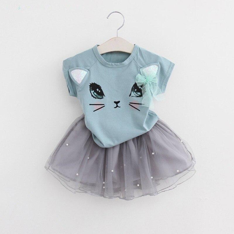 2Pcs Girls Sweet Summer Cartoon Kitten Printed T-Shirts+Net Veil Dress Baby Clothes Sets