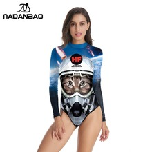 New New Design Bodysuit Bathing Suit Space Cats Printed Women Swimwear Loog Sleeve  Zippered One Piece 0d65a088c