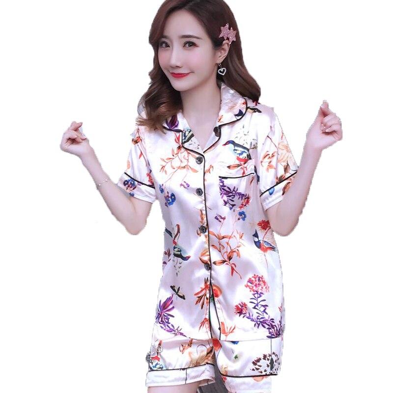 Women's Sleepwear Sexy Silk Pajama Set Flower Print Short Sleeve Shirt and Short Pants Pyjamas Suit Two Piece Set Housewear