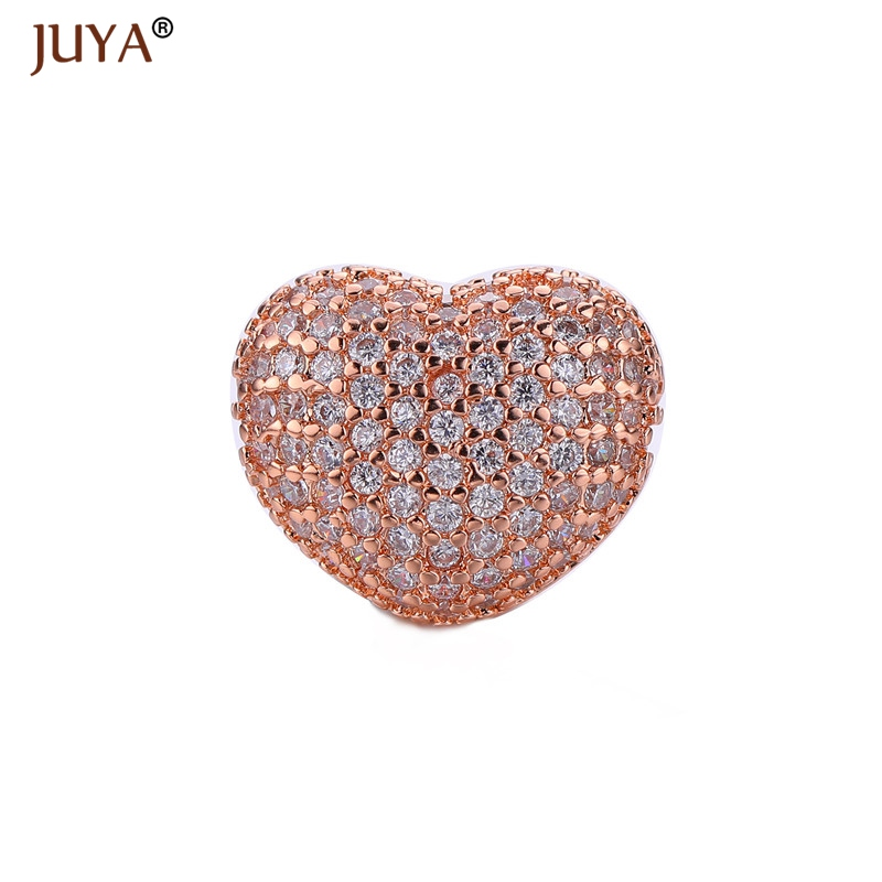 jewelry findings components luxury cubic zirconia crystal heart beads for diy women bracelets necklace accessories gift