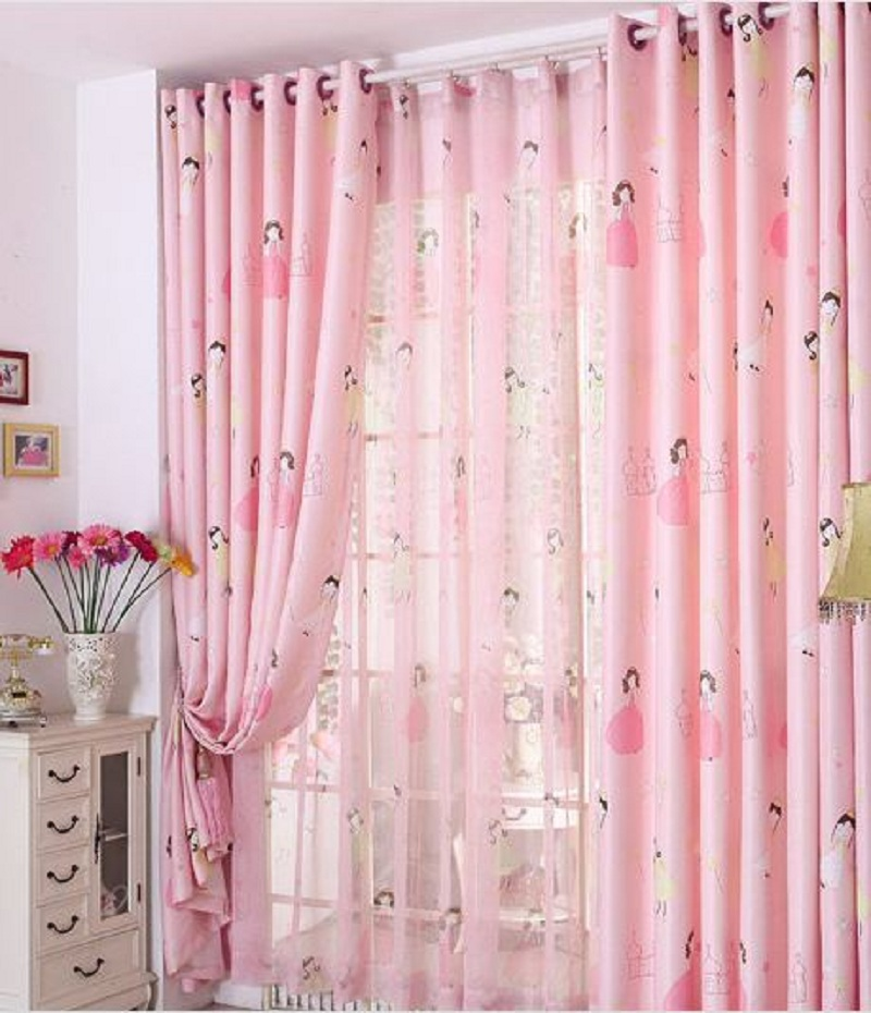 Pink princess blackout window curtains for kids girls bedroom living room drapes voile tulle - Curtains in bedroom ...