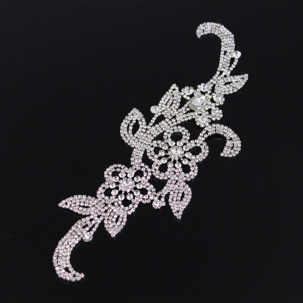 Flatback Sew on silver base Appliques Bridal crystal rhinestone applique  for wedding gown dresses rhinestone patches trim sash -in Bridal Blets from  ... 115a58e21677