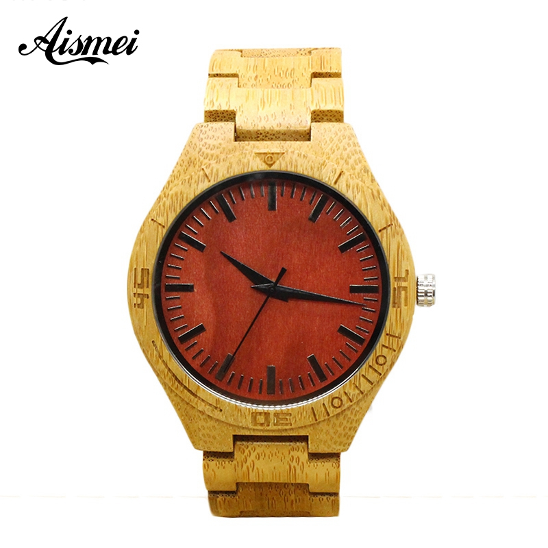 2018 Fashion Men Wooden Wristwatch Mens Brand Design Red Wooden Dial Quartz Watch Wood Strap wrist watches for male gift fashion wooden band green silver concise dial wood quartz watch for men simple scale red black watchband wooden wristwatch male