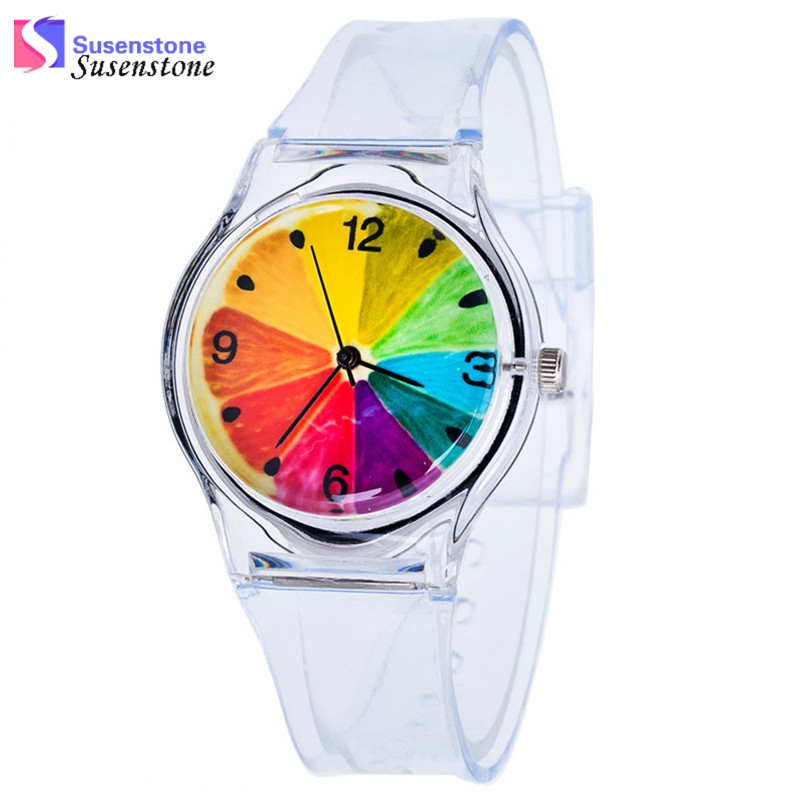 Kids Watches Lovely Cute Pure Color Silicone Rubber Strap Analog Quartz Watch Casual Children Boys Girls Students Watch Clock