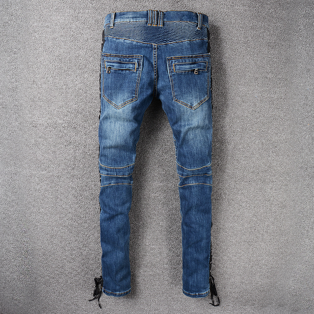 Sokotoo Mens lace up blue stretch cotton denim biker jeans Slim fit zipper pockets pleated pants