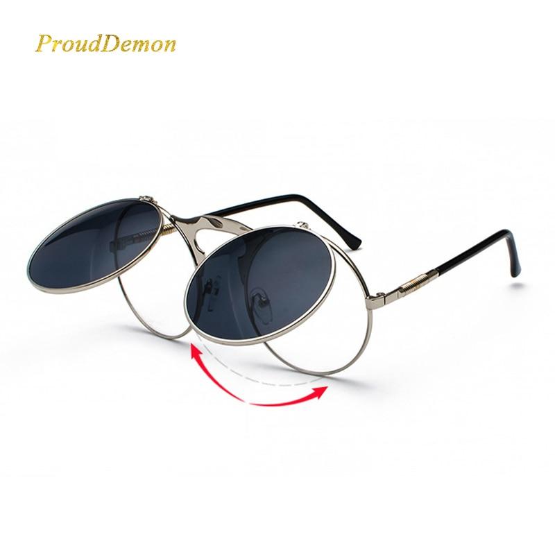 Prouddemon раскладушка женские солнцезащитные очки в стиле стимпанк Для мужчин Винтаж флип металлические солнцезащитные очки ретро-оттенки UV400