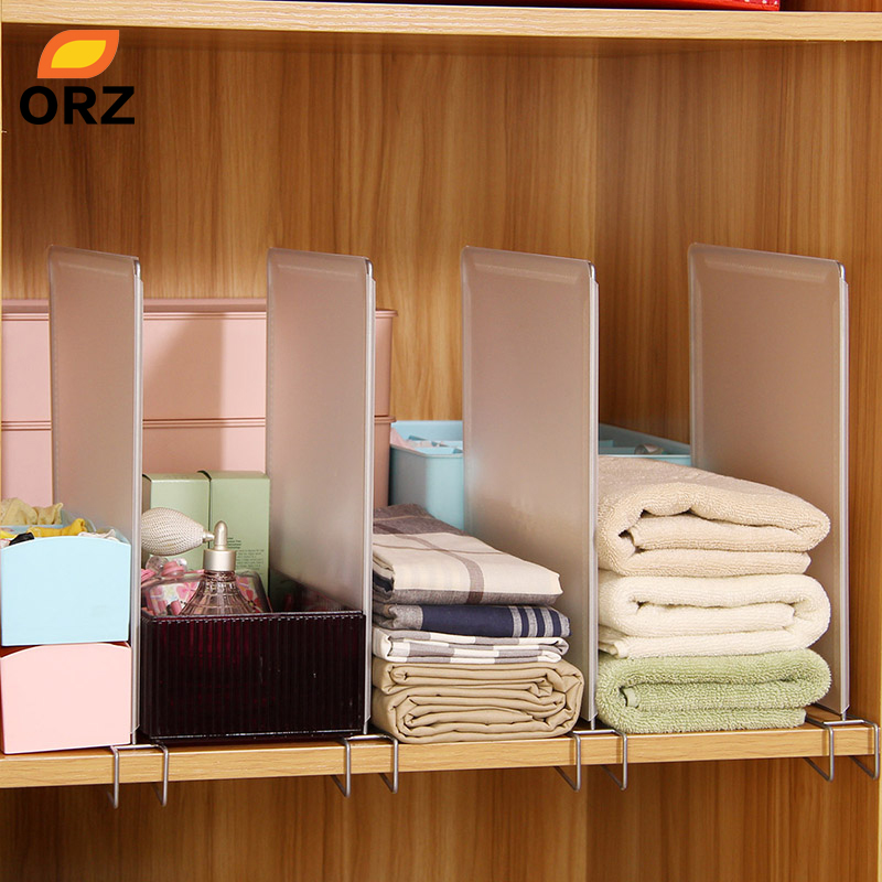 ORZ 4pcs Closet Divider Shelf Space Saving Shelves Wire Design PP Wardrobe Chest Partition Clothes Storage Rack Drawer Organizer(China)