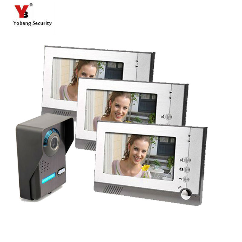Yobang Security 7 Inch Video Door bell Phone Intercom System 12 door bell music rings one to three monitor and video Intercom bqlzr 8 inch hairline finish silver security door slide flush latch bolt