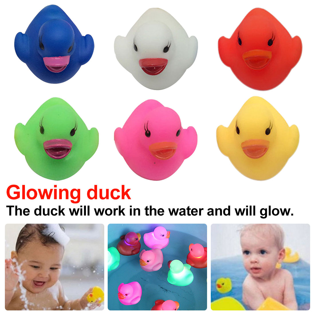 Glowing Rubber Duck Bath Flashing Light Toy Bathroom Toys Multi Color LED Lamp Ducky Duckie Baby Shower Bath Toys For Children
