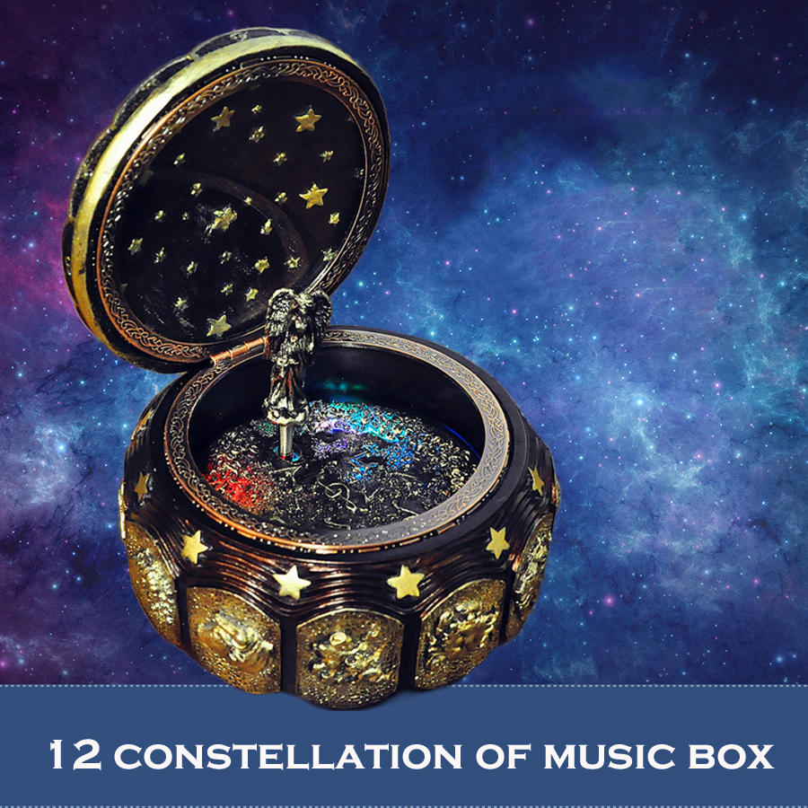 12 Constellation Music Box med LED Blinkande Lights Musical Boxes för Boy Friend Love Girls Alla hjärtans dag födelsedagsgåva
