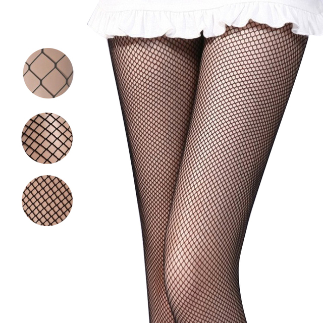 Black medium fishnet club tights grid SEXY women high waist stocking panty knitting net pantyhose trouser mesh lingerie dropship