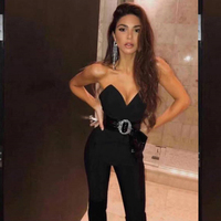 2019 New Arrival Fashion Strapless V Neck Bandage Jumpsuit Women Summer Bodcyon Celebrity Evening Party Sexy Jumpsuits Drop Ship