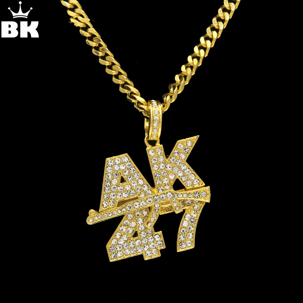 Men Women Rock Jewelry Gifts Gold Color Bling AK47 Submachine Gun Rhinestone Pendants Necklaces Hip Hop Charm Chains