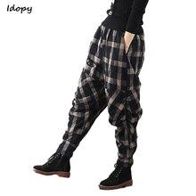 Idopy Donne di Modo Pantaloni stile harem In Cotone E Lino Loose Fit Plaid  di Inverno dbda9a7bf17d