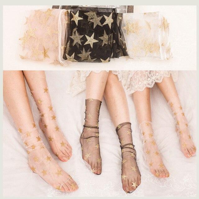 6 Цвета Chic Для женщин носки Sheer Прозрачные пайетки блеск gald звезды сетки блестящие носки тюль