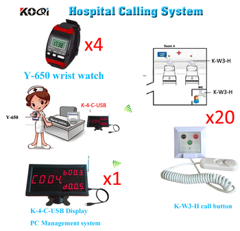 Patient call system wireless Display Receiver + 4 Wrist Watches + 20 push button pinic Call Emergency Cancel
