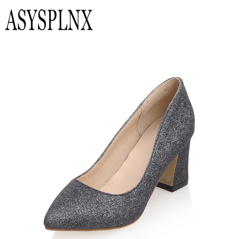 janes thick heel pointed toe simple shoes
