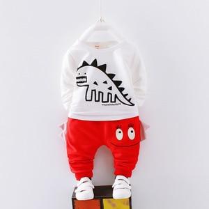 Image 5 - 男の子春の秋の服セット子供服綿カジュアルコート + トップス + パンツ 3 本ベベ男の子幼児スーツ