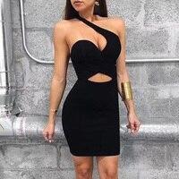 2018 Newest Sexy Black Bandage Dress Women Elegant One Shoulder Fashion Strapless Hollow Out Slim Evening Party Dresses Vestidos