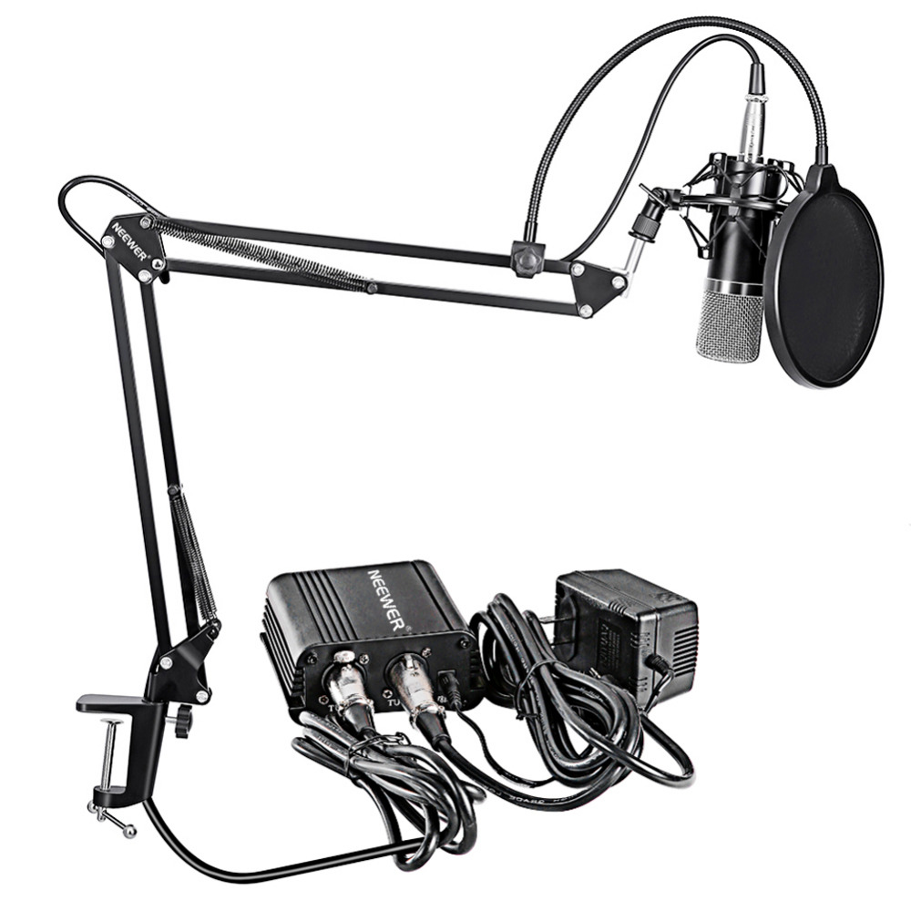 Neewer NW-700 Microfono A Condensatore Professionale & Scissor Braccio Del Supporto + XLR Cable + Morsetto di Montaggio e Pop Filter & 48 V Phantom Power Supply