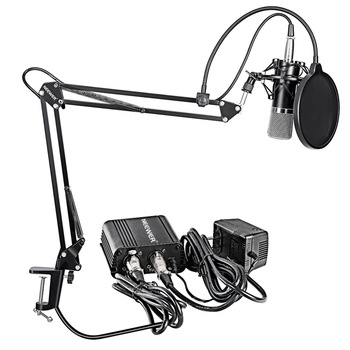 Neewer NW-700 Professional Condenser Microphone&Scissor Arm Stand+XLR Cable+Mounting Clamp&Pop Filter&48V Phantom Power Supply xtuga ma200 condenser instrument microphone 3 pin xlr 48v phantom power with 2 stand mount clip for saxophones piano guitar