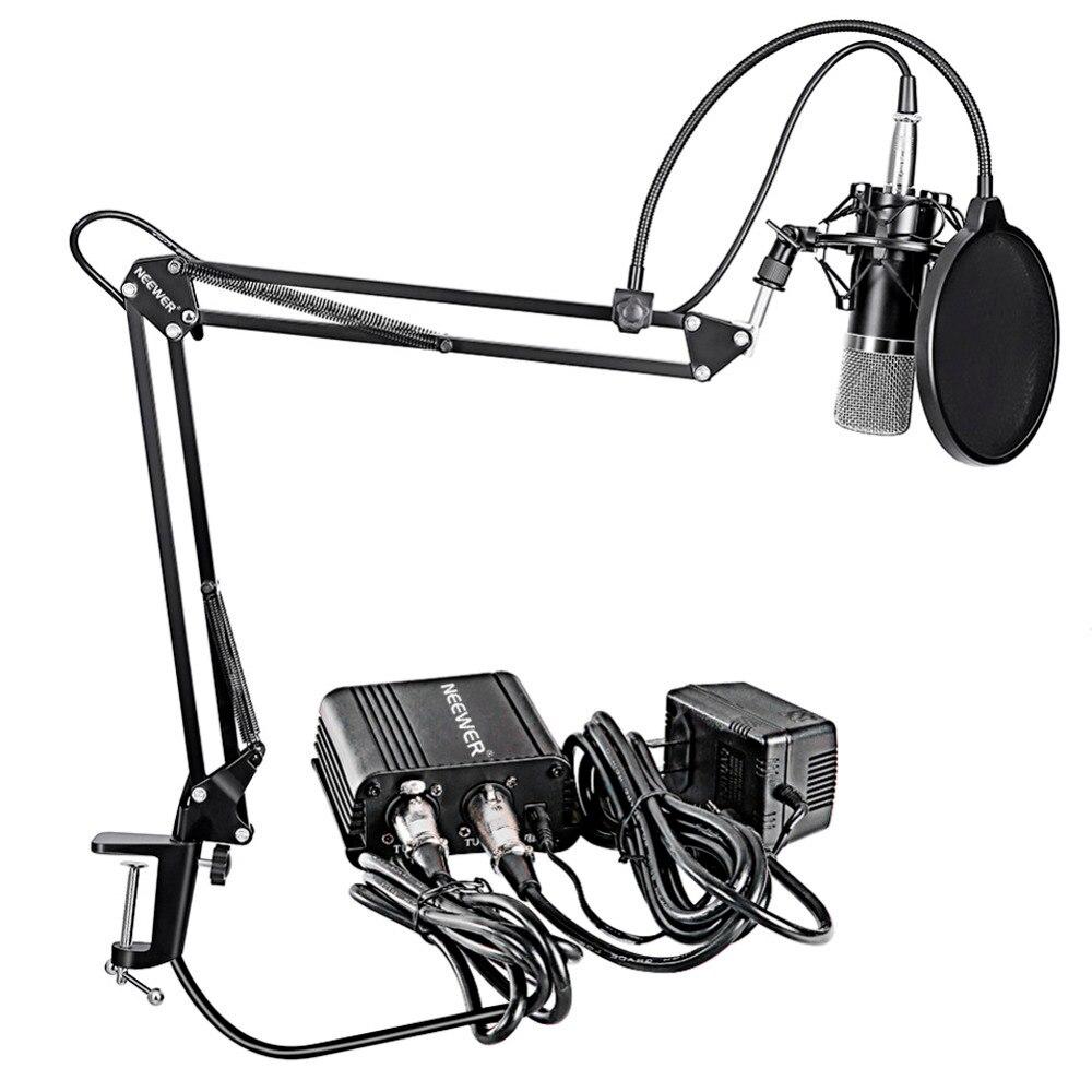 Neewer NW-700 micrófono condensador profesional y soporte de brazo de tijera + Cable XLR + abrazadera de montaje y filtro Pop y fuente de alimentación Phantom de 48 V