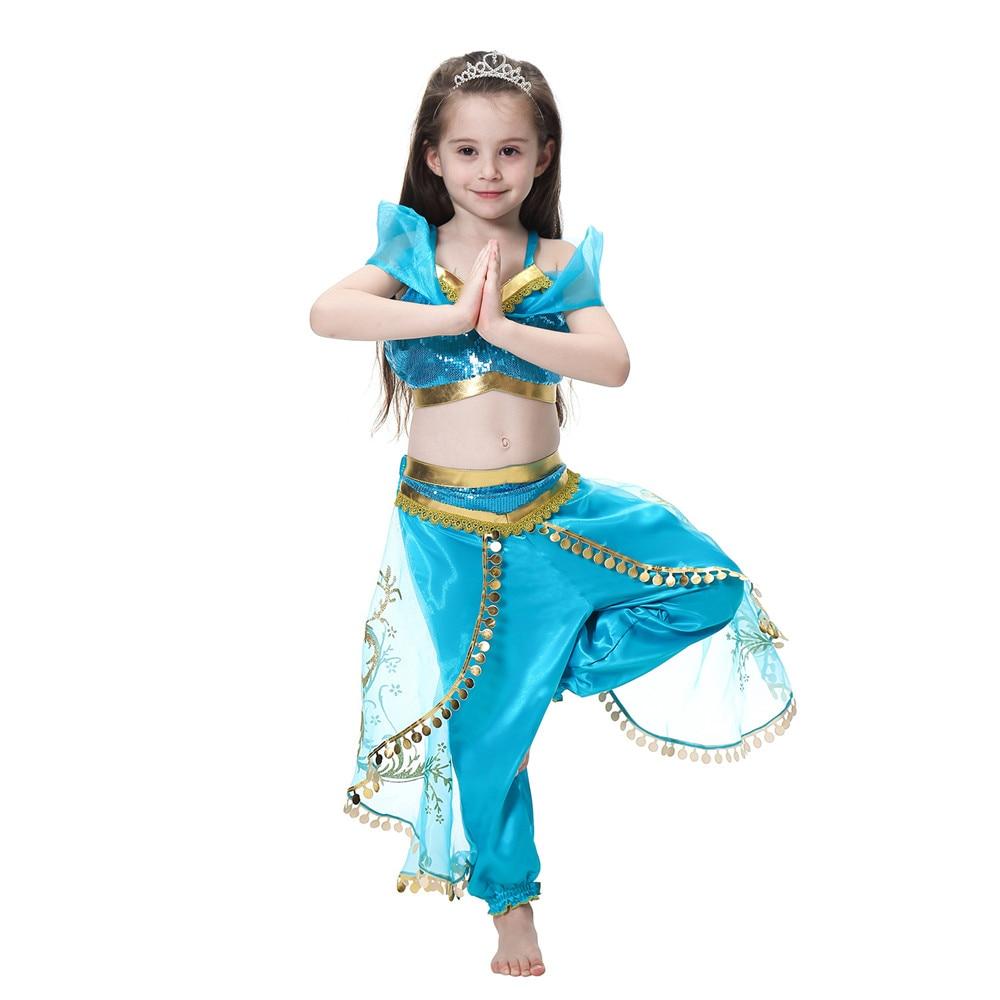 Kids Costumes & Accessories Costumes & Accessories Deluxe Girls Aladdins Lamp Jasmine Princess Costumes Cosplay Dance Dress Indian Princess Costume For Kids Halloween Party