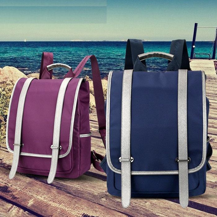 Preppy Style Unisex Ultralight Waterproof Backpack Soft Handle Solid Color Belt Decor Zipper Bags