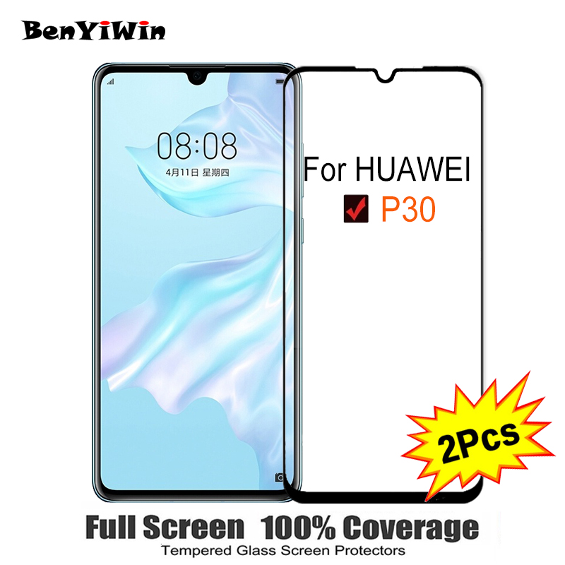 2PCS Full Cover Screen Protector Tempered Glass For Huawei P30 6.10