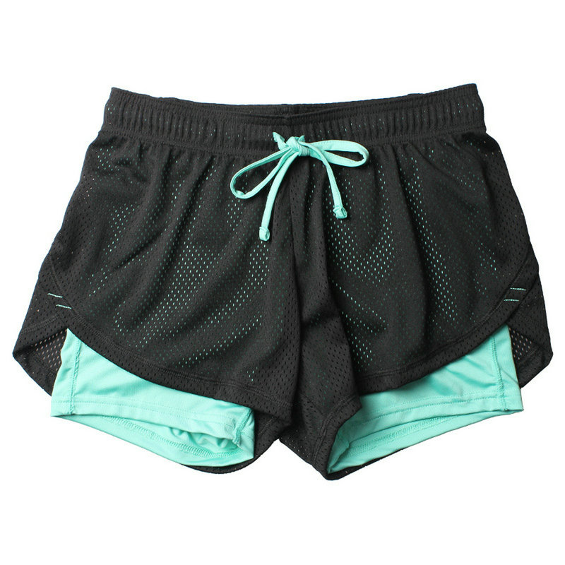 2 in 1 lulu Unisex Summer Yoga Shorts Mesh Breathable Ladie Girl Short Pants for Running Athletic Sport Fitness Clothes Jogging