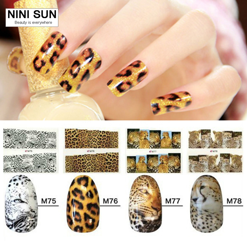 6pcs Animal Print Nail Art Sticker Decals Water Transfer Tips Decorations Diy Manicure Beauty