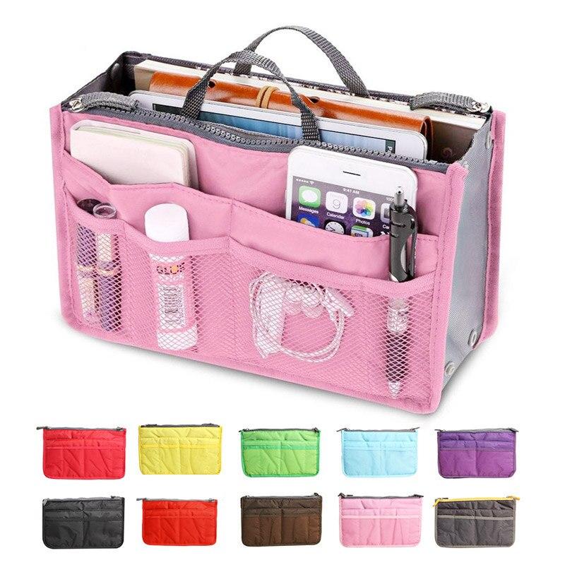 Organizer Bag Women Nylon Travel Insert Organizer Handbag Purse Large Liner Lady Makeup Cosmetic Bag Cheap Female Tote